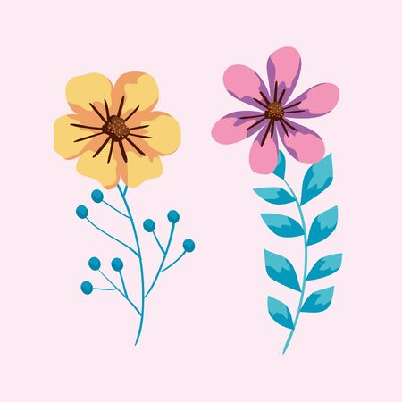 cute flowers and branches with leaves vector illustration design