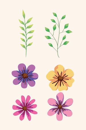set of cute flowers and branches with leaves vector illustration design