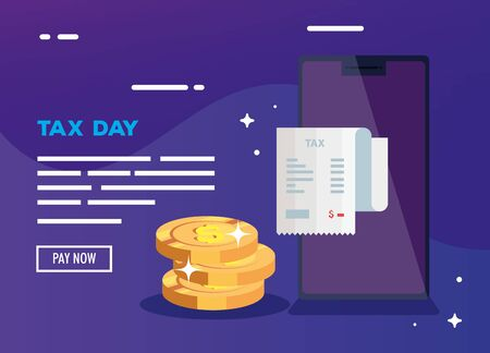 tax day poster with smartphone icons vector illustration design