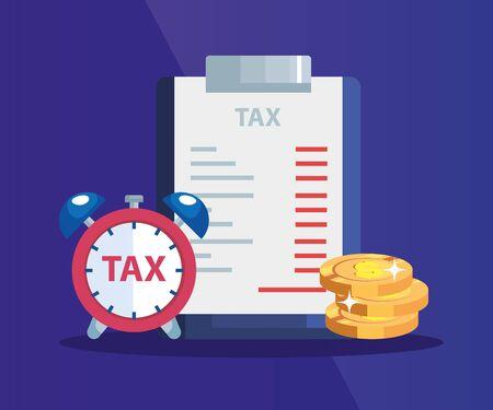 document of tax paid with pile coins and alarm clock vector illustration design Ilustração