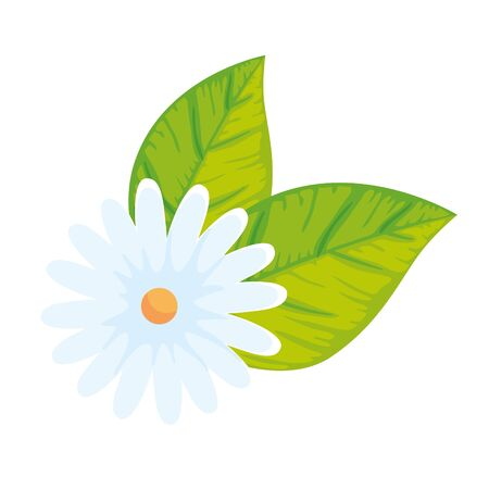 cute flower with leaves isolated icon vector illustration design