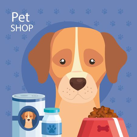 pet shop with dog and icons vector illustration design