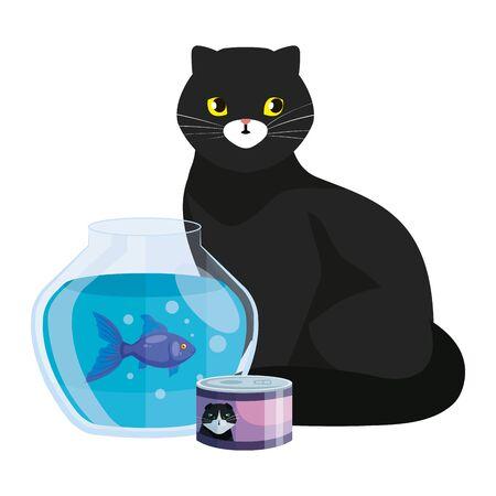 cute cat black with round glass fish bowl vector illustration design Archivio Fotografico - 142568067