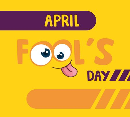 april fools day with crazy eyes vector illustration design  イラスト・ベクター素材