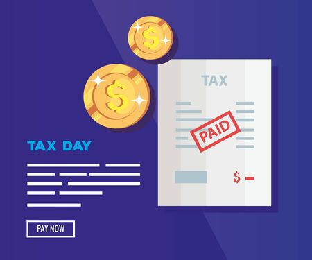 tax day poster with document and coins vector illustration design Ilustração