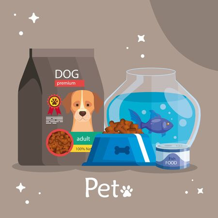 pet shop with food dog bag and icons vector illustration design