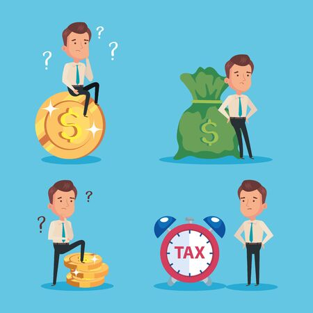 bundle of tax day paid with businessmen and icons vector illustration design