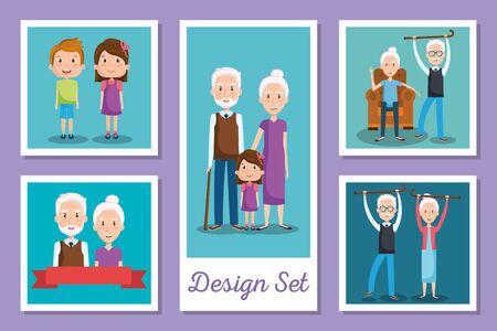 designs set of grandparents and grandsons vector illustration design