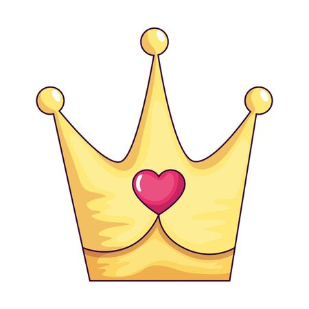 cute crown with heart isolated icon vector illustration design Ilustração