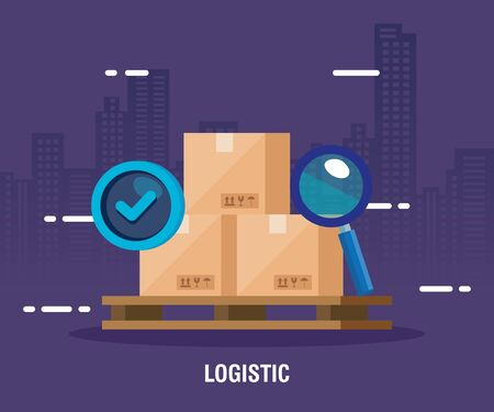 delivery logistic service with boxes and icons vector illustration design