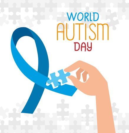 world autism day with hand and ribbon vector illustration design
