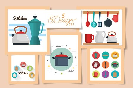five designs of kitchen icons vector illustration design