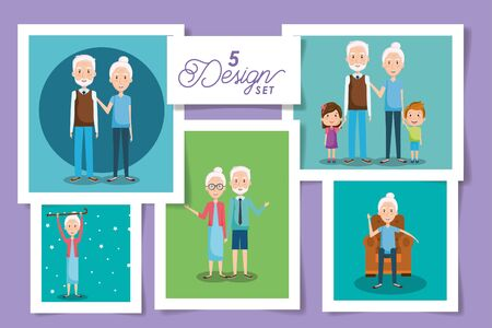 five designs of cute grandparents and grandsons vector illustration design