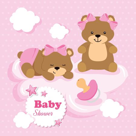 baby shower card with bear female and icons vector illustration design