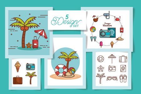five designs of summer icons vector illustration design