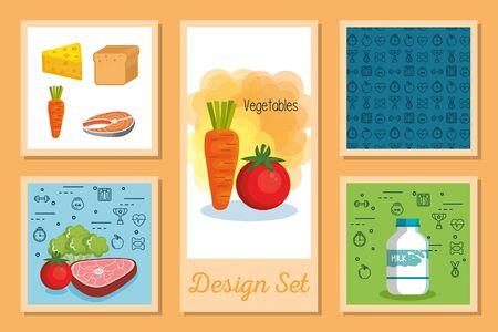 designs set of healthy food icons vector illustration design