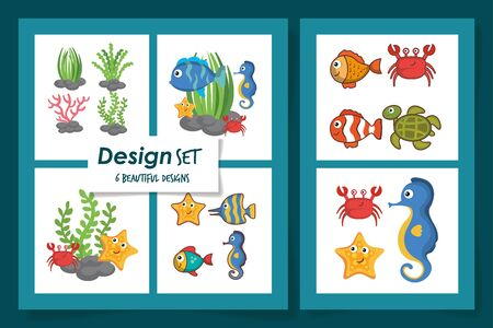 six designs of cute sea life icons vector illustration design