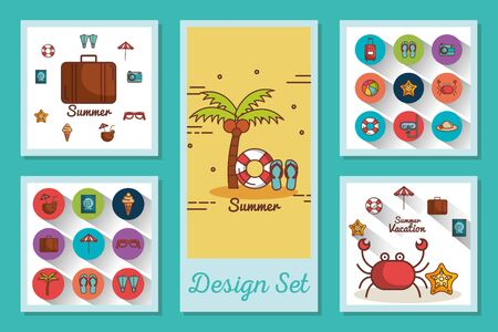 designs set of summer icons vector illustration design