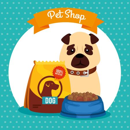 pet shop veterinary with little dog with dish food vector illustration design Ilustrace