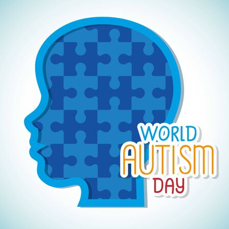 world autism day and head of puzzle pieces vector illustration design