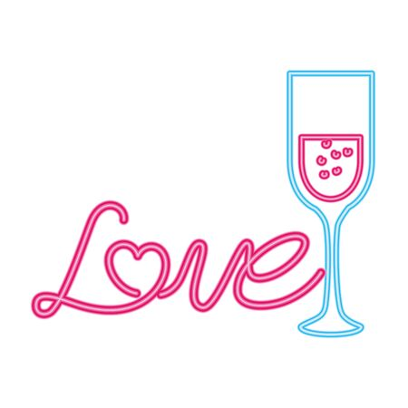 love label in neon light on white background vector illustration design