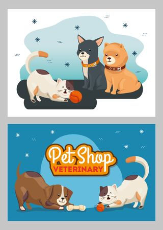 set poster of pet shop veterinary with icons vector illustration design Ilustrace