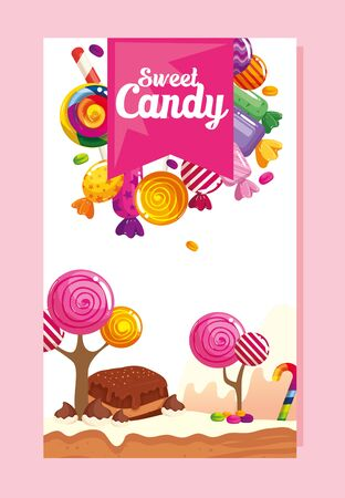 poster of candy shop with brownie and candies vector illustration design
