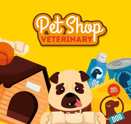 pet shop veterinary with little dog and icons vector illustration design