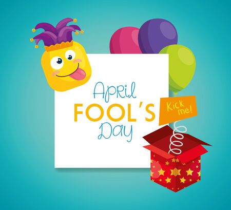 april fools day with hat buffoon and decoration vector illustration design