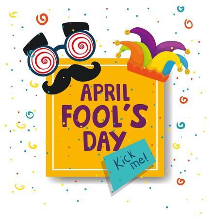 april fools day with crazy mask and decoration vector illustration design
