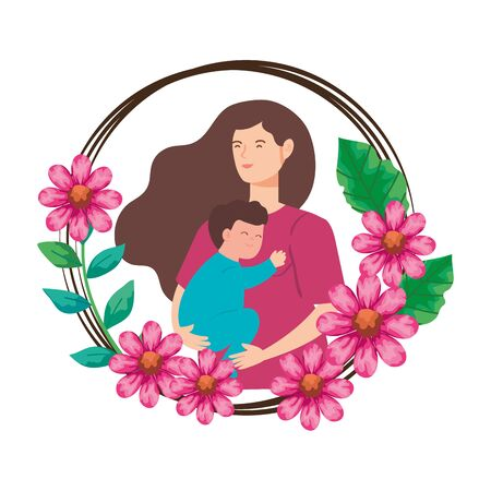 woman pregnant carrying baby boy in frame of flowers vector illustration design
