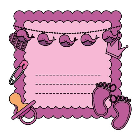 baby shower card with set icon vector illustration design