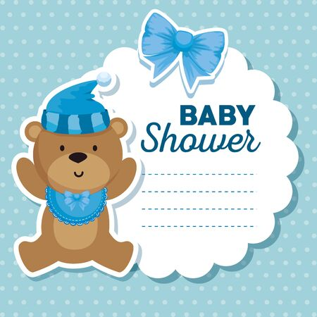 label of bear with hat and bib with ribbon bow to baby shower vector illustration