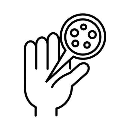 hand with particles covid 19, line style icon vector illustration design Vectores