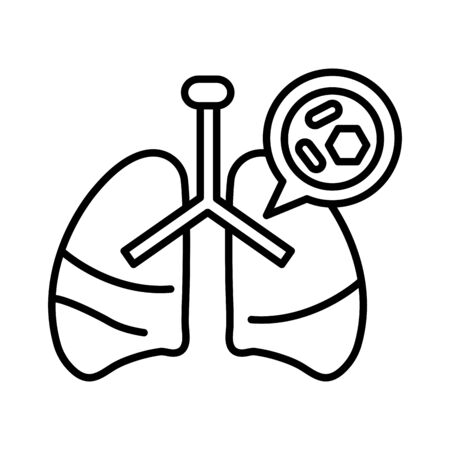 lungs with covid 19, line style icon vector illustration design Иллюстрация
