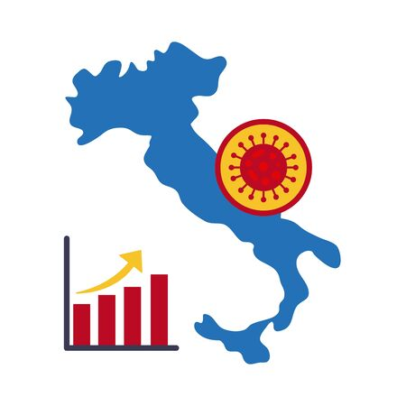 map of italy with covid 19 information and icons, flat style icon vector illustration design