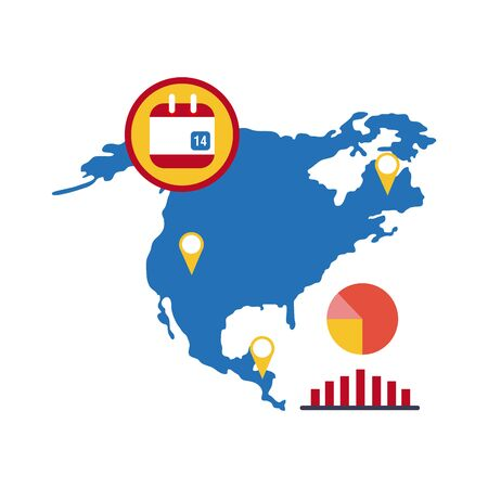 map of north america with covid 19 information and icons, flat style icon vector illustration design