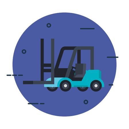 blue forklift car design, Delivery logistics transportation shipping service warehouse industry and global theme Vector illustration