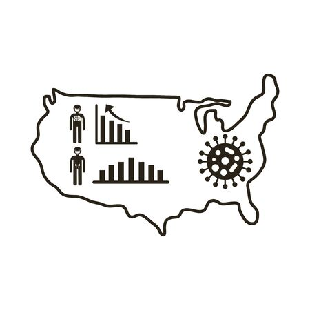 map of usa with covid 19 information and icons, line style icon vector illustration design