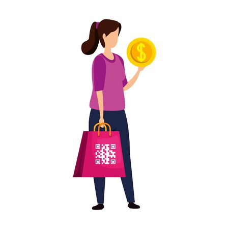 woman and qr code in bag chopping and coin vector illustration design Çizim