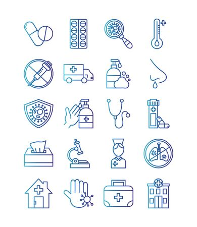 bundle of covid 19 designs, gradient line style icon vector illustration design