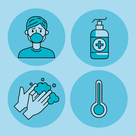 set of covid 19 pandemic icons vector illustration design