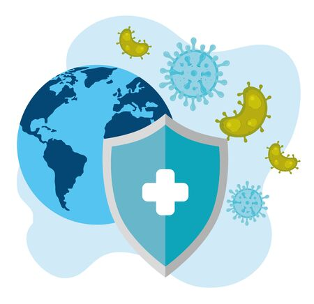 world map with covid 19 and shield protection vector illustration design