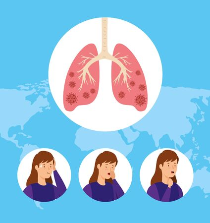 set images of women with covid 19 infected lungs vector illustration design Vecteurs