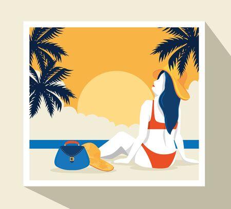 travel poster with woman in beach landscape vector illustration design Illusztráció