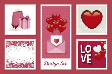 set designs of love with decoration vector illustration design Vettoriali
