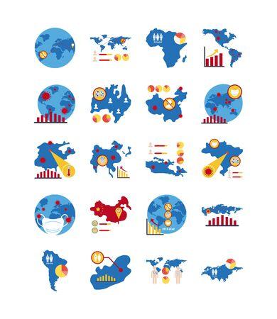 bundle of covid 19 designs, flat style icon vector illustration design