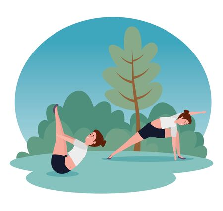 fitness women training yoga position with tree and bushes plants, vector illustration