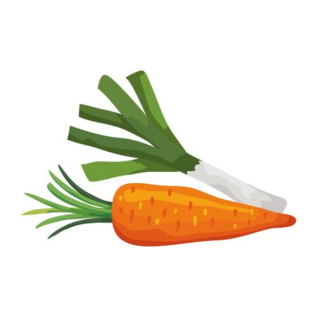 fresh carrot with leek vegetable isolated icon vector illustration design Vectores