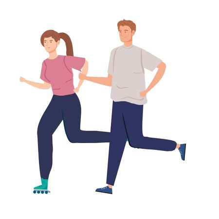 cute couple practicing exercise avatar characters vector illustration design